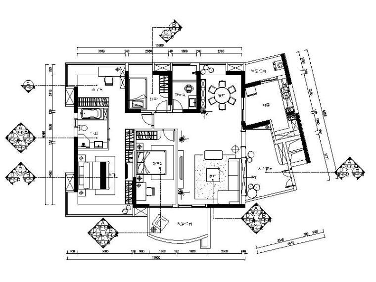 [广东]现代古典元素住宅设计施工图(含效果图)