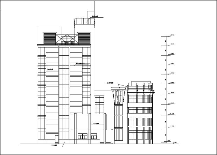 5套商务办公楼建筑设计施工图CAD-现代高层办公综合建筑设计立面图
