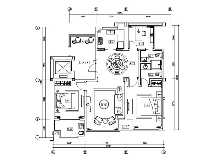 全套欧式风格样板房设计CAD施工图(含效果图)_1