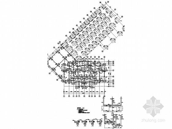 底部两层商业群裙房17层框剪结构商住楼结构图