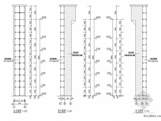 增建五层钢框架结构观光电梯结构施工图