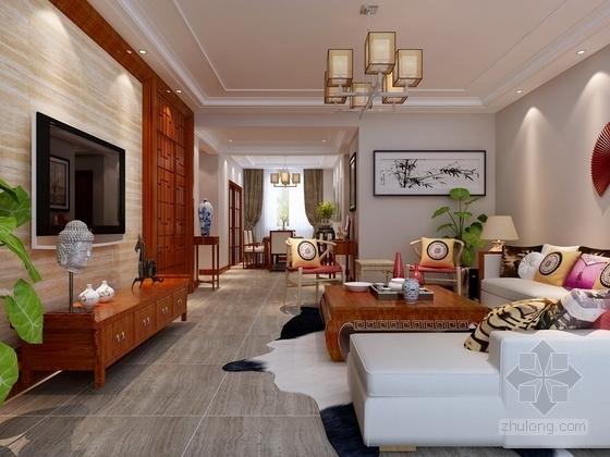 [银川]独具个性高层区混搭风格三居室样板间装修施工图(含效果及3Dmax模型)客厅效果图