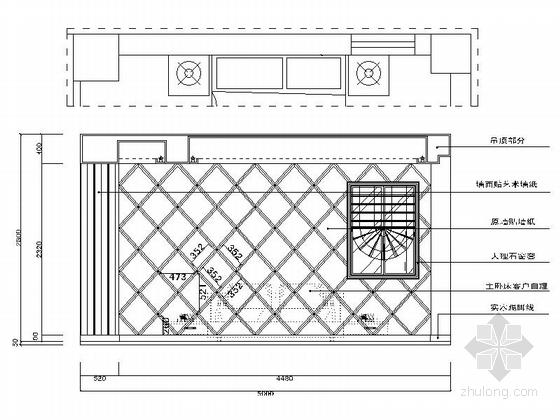[广州]世纪广场典雅四居室样板间装修施工图主卧室立面图