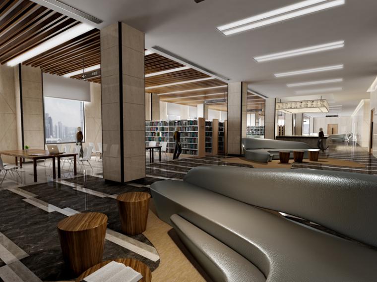 现代图书馆3D模型下载