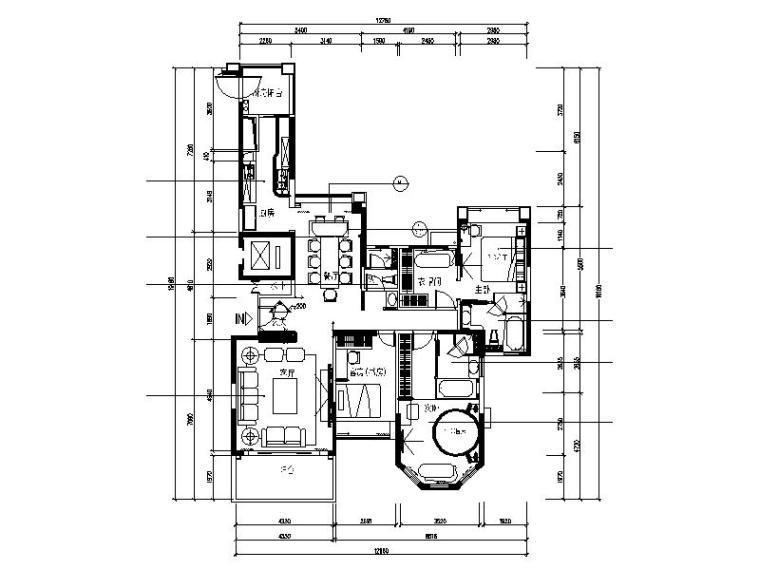 现代风格的三居室设计施工图