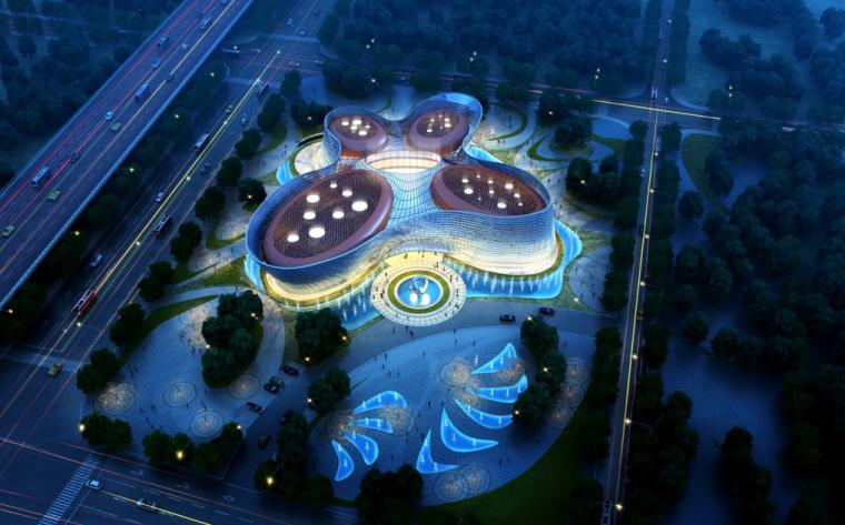 [北京]现代曲线造型文化中心及幼儿园建筑设计方案文本(含CAD)