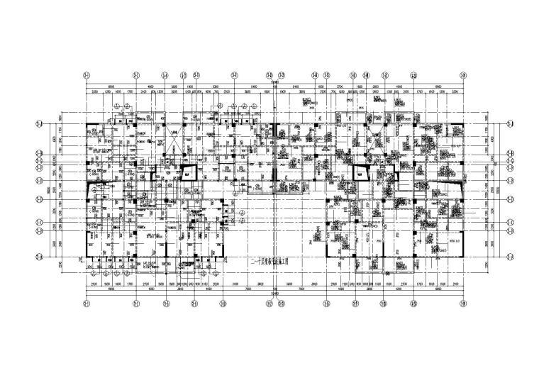 咸安亲亲时尚广场12层钢混框剪结构住宅楼结构施工图(2015)