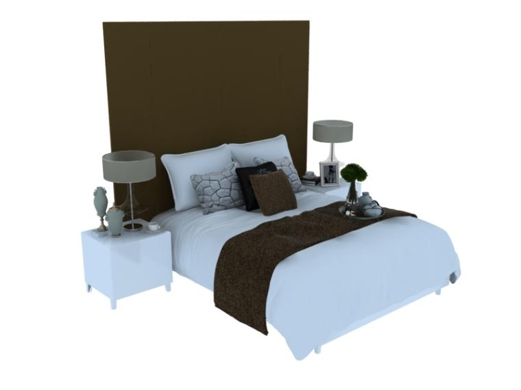 欧式大气双人床资料下载-干净舒适双人床3D模型下载