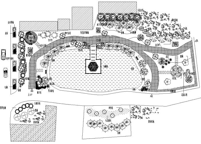 园林各类绿地景观设计CAD平面图346套(赠送CAD素材图库)-某小游园景观设计平面图