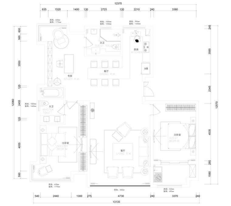 [苏州]平行世界145㎡现代风格住宅设计施工图及效果图