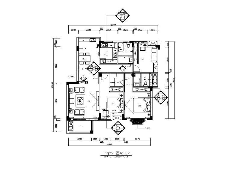 新中式风格样板房全套CAD施工图(含效果图)