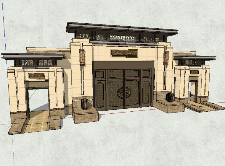 某居住区入口大门模型设计(新中式风格)