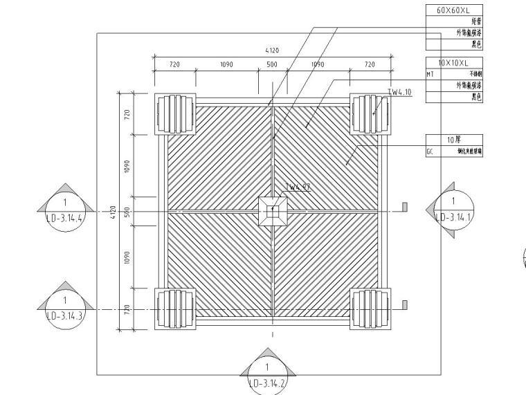 欧式风格景亭设计详图 (钢筋混凝土结构)