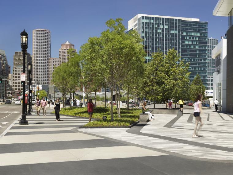波士顿商业街道转角广场