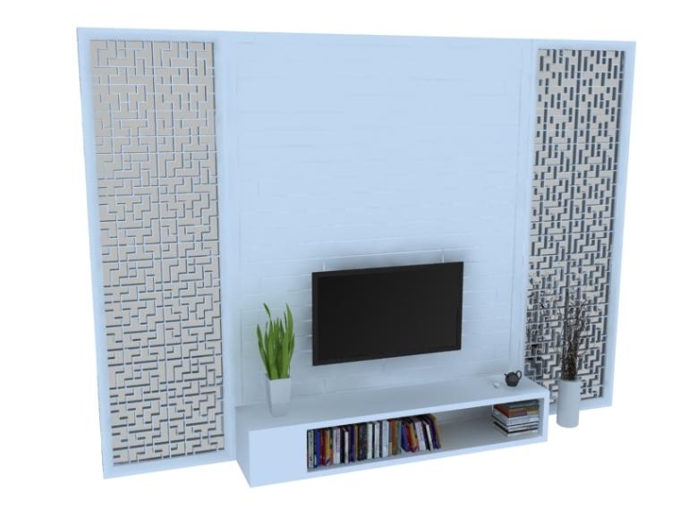 家庭电视墙3D模型下载