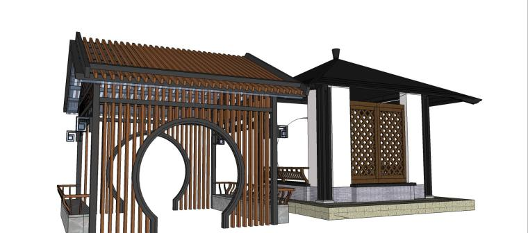 中式亭子廊架组合su模型设计