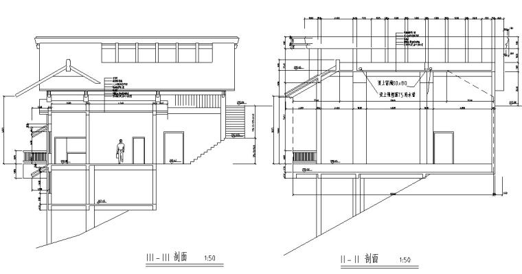 山顶缆车配套茶室建筑设计方案施工图CAD-5