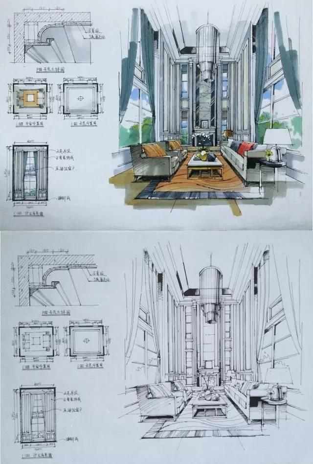 室内手绘 室内设计手绘马克笔上色快题分析图解_48