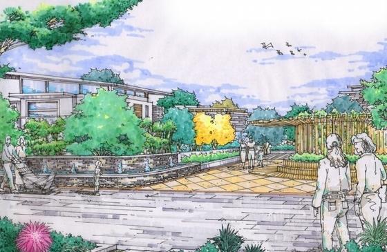 [陕西]高级别墅景观设计概念方案-手绘效果图
