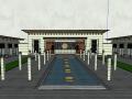 精细居住区大门围墙设计模型(新中式风格)