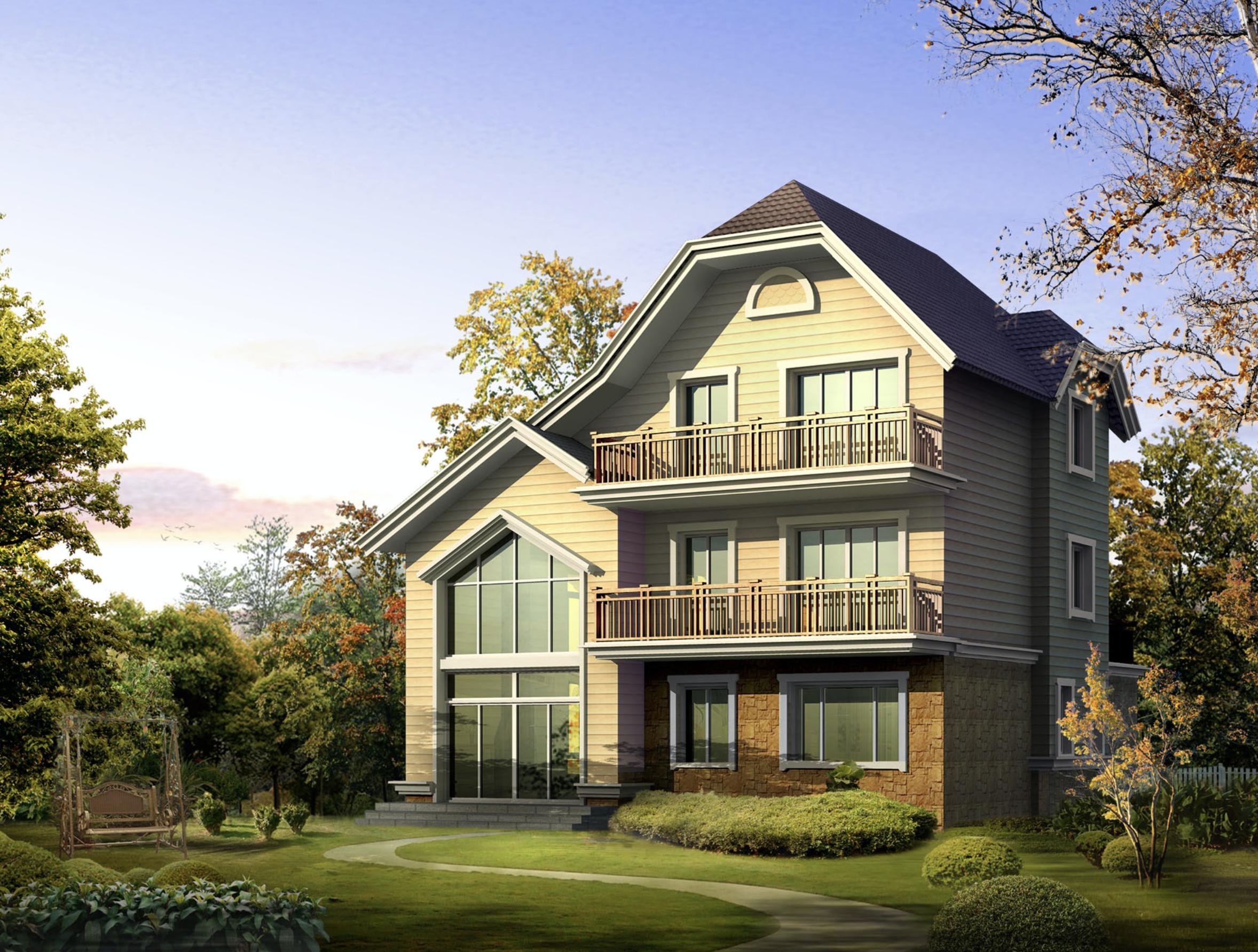 新农村田园坡屋顶三层独栋别墅建筑设计施工图