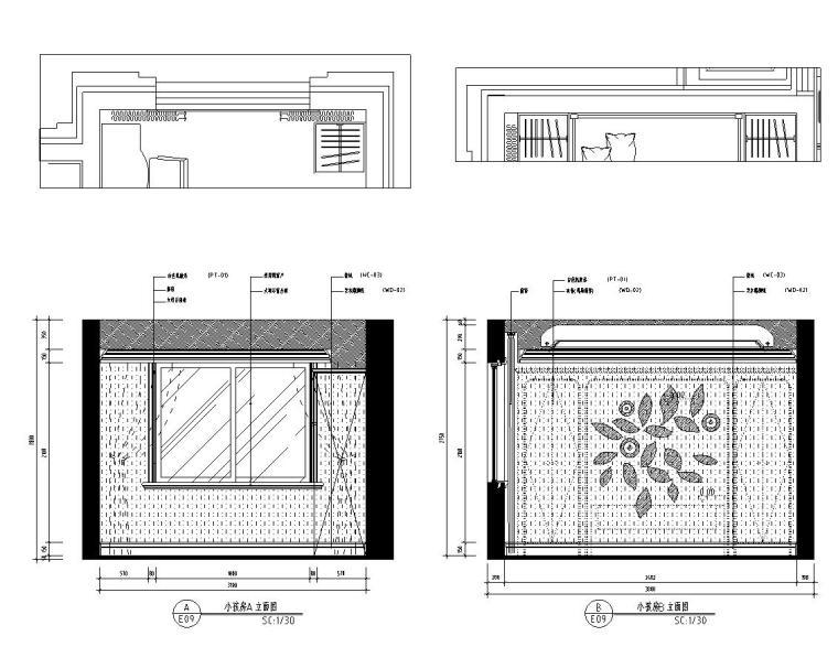 新古典样板房施工图设计(带效果)-小孩房立面图