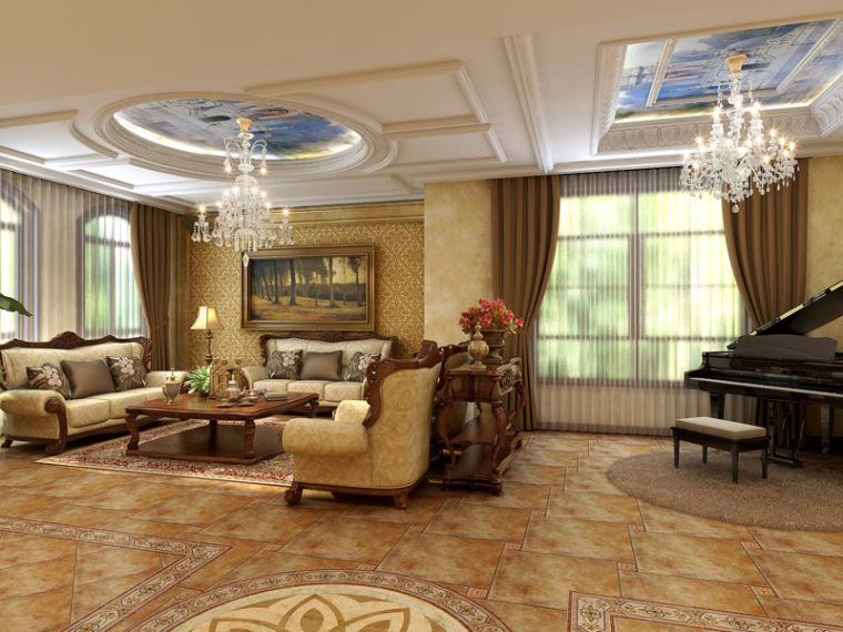 欧式家具模型资料下载-欧式华丽客厅3D模型下载