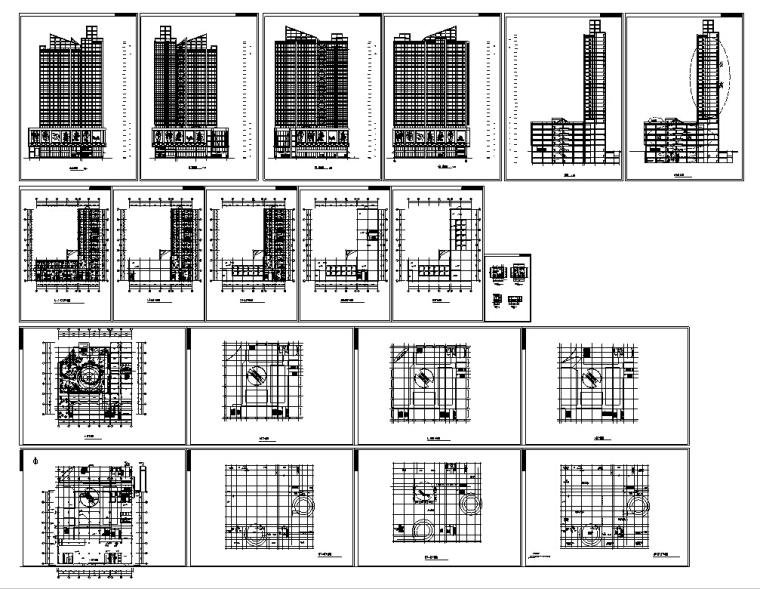 3套商住综合楼建筑设计施工图CAD-现代高层商住综合楼建筑设计施工图