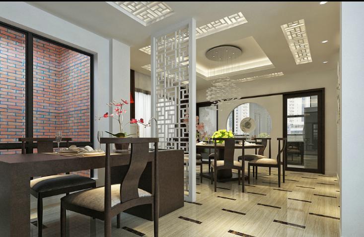 某中式风格联排别墅室内装修设计施工图及效果图-餐厅效果图