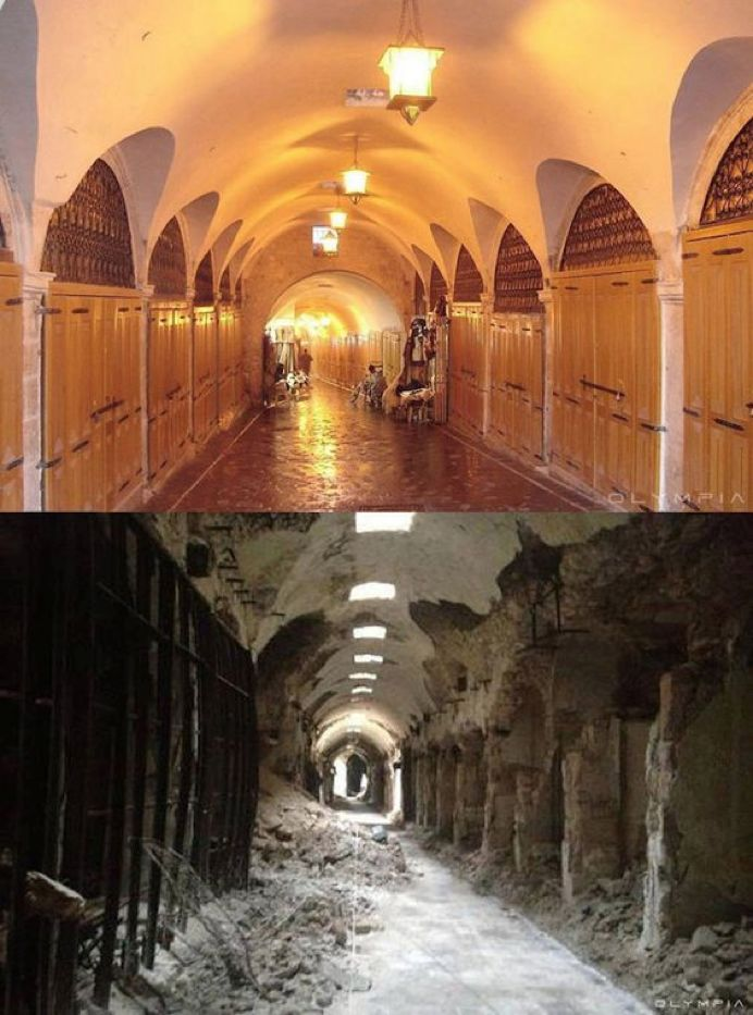 叙利亚战争后的城市建筑对比,满地废墟浓烟弥漫_2