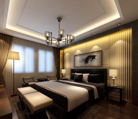 新中式-独栋别墅设计CAD施工图(含效果图)效果图