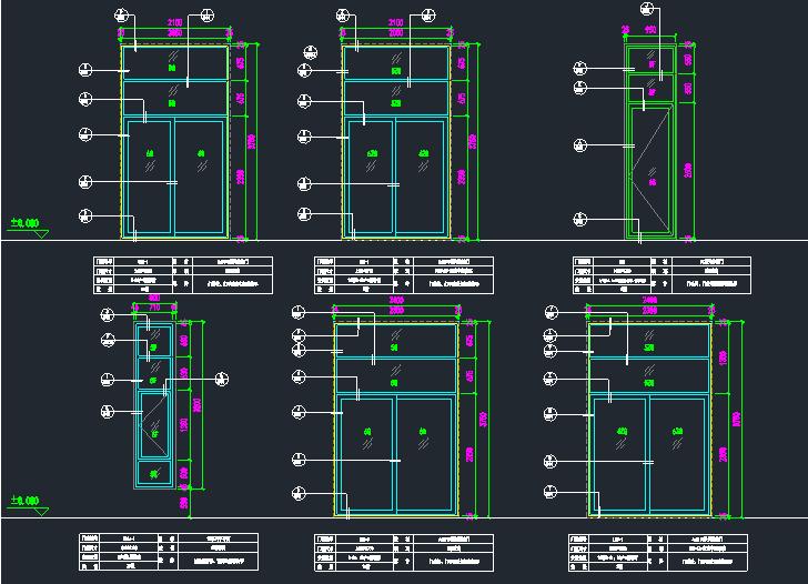 各种铝合金玻璃门窗及大样节点图_3