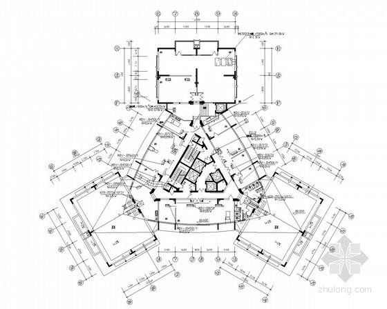 高层办公楼舒适性空调系统设计施工图(风冷热泵)