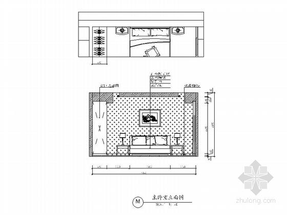 [广州]花园住宅简欧三居室样板房装修图(含效果)主卧室立面图