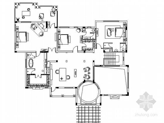 [广州]意大利式高贵典雅别墅室内设计cad施工图图片