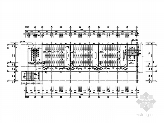 [福建]五层框架结构玻璃幕墙高等院校教学楼建筑施工图-五层框架结构玻璃幕墙高等院校教学楼建筑平面图