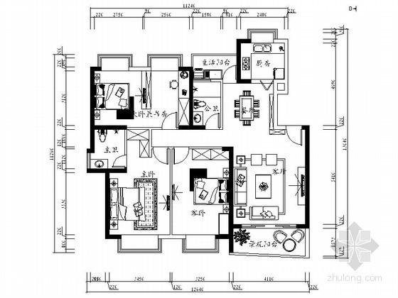 三居室时尚家装设计图