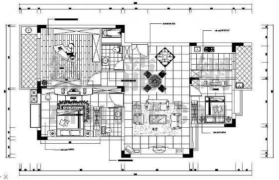 三室两厅两卫室内CAD装修图
