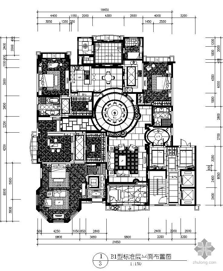 欧式新古典样板房四居室施工图(含实景)