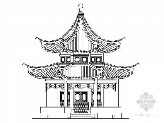 [仿古建]十六柱重檐八角凉亭施工图