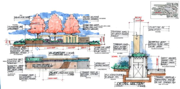 [海南]田园居住区景观方案修改及深化方案-景墙大样图