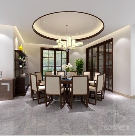 [浙江]园林城市新中式三层别墅样板间装修施工图(含效果)餐厅效果图