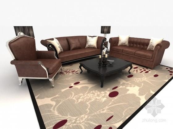 欧式组合沙发3D模型资料下载-欧式组合沙发3d模型下载