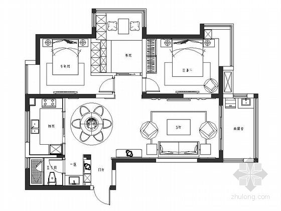 [扬州]高档小区简约温馨2居室室内设计CAD施工图(含效果图)