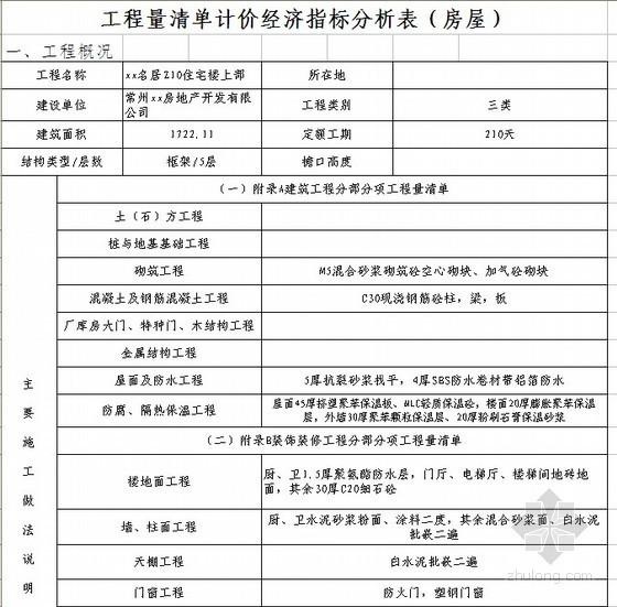江苏住宅楼装饰工程造价经济指标(清单计价经济指标)