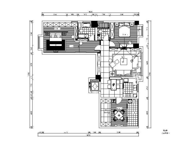 现代风格二居室样板房设计CAD施工图(含效果图)_1