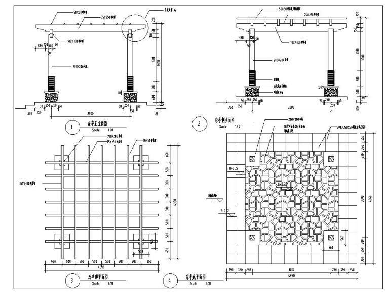 园林景观设计施工图(包含CAD)(廊亭)
