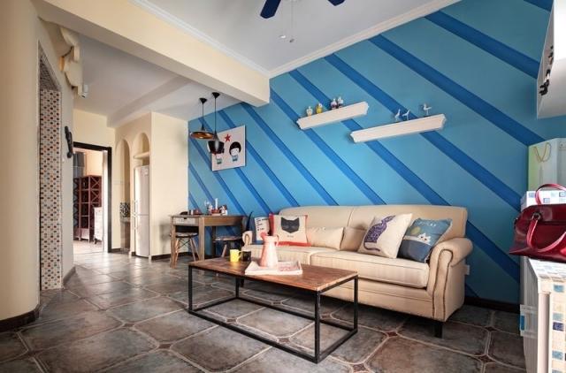 走入大海的怀抱客厅电视背景墙地中海风格效果图