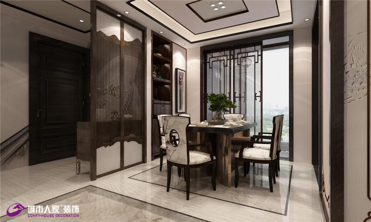 海尔云世界装修|海尔云世界三室两厅中式风格