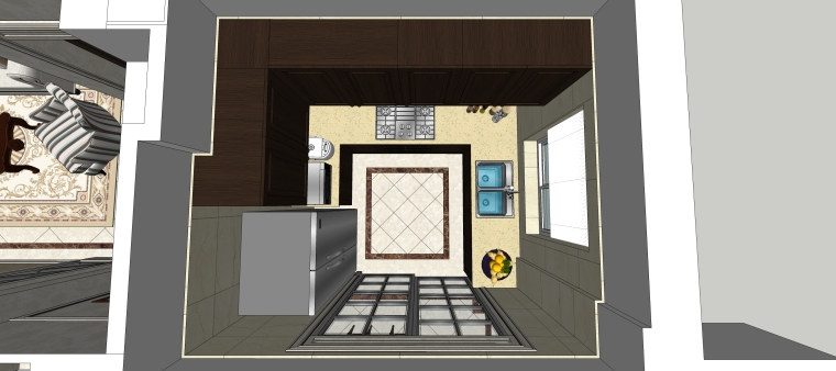 室内设计简欧风格客餐厅SU模型-14.厨房